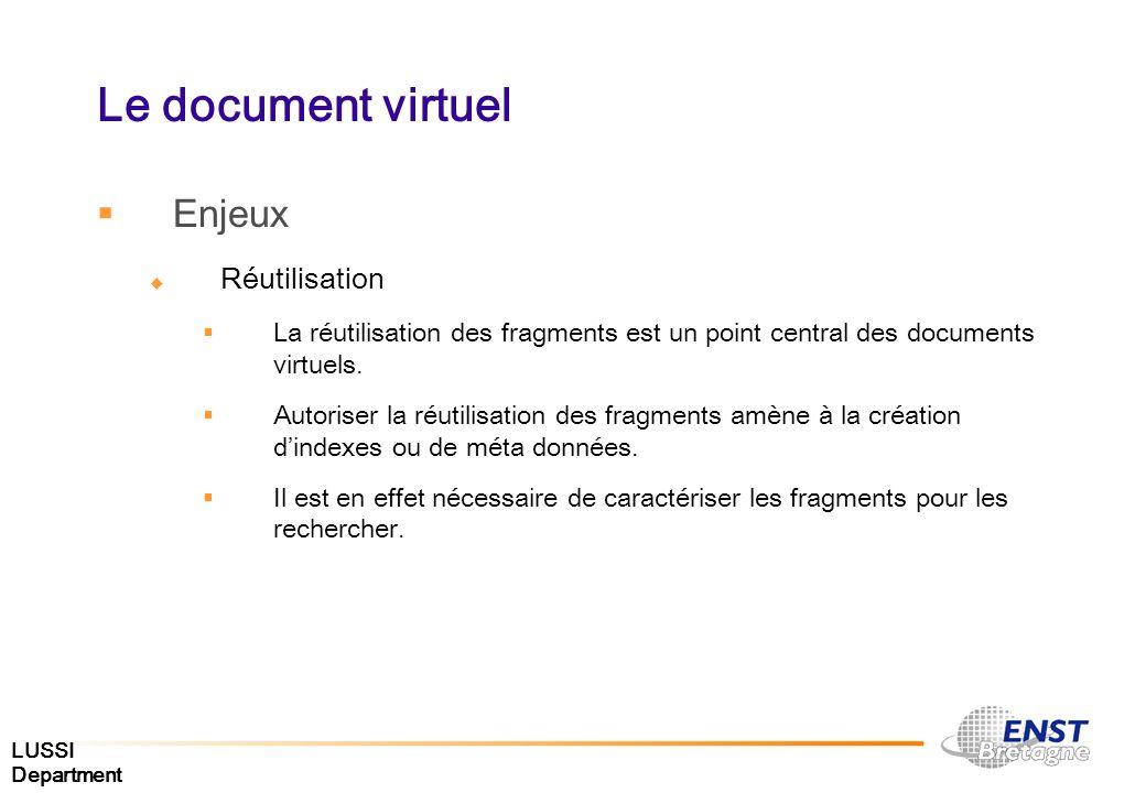 LUSSI Department Le document virtuel Enjeux Réutilisation La réutilisation des fragments est un point central des documents virtuels. Autoriser la réu