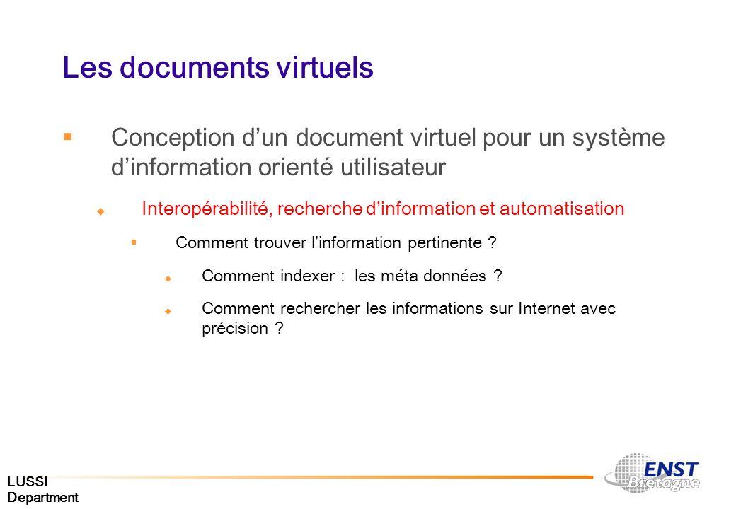 LUSSI Department Les documents virtuels Conception dun document virtuel pour un système dinformation orienté utilisateur Interopérabilité, recherche d