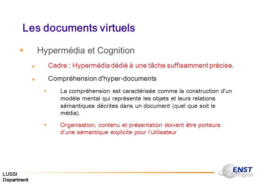 LUSSI Department Les documents virtuels Hypermédia et Cognition Cadre : Hypermédia dédié à une tâche suffisamment précise. Compréhension d'hyper-docum