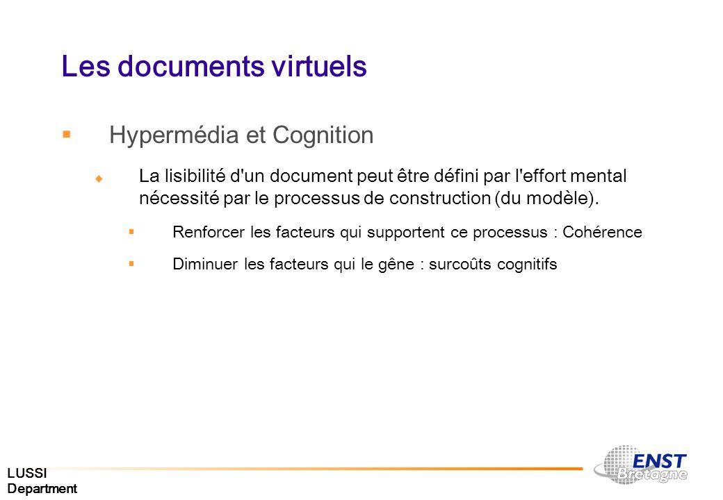 LUSSI Department Les documents virtuels Hypermédia et Cognition La lisibilité d'un document peut être défini par l'effort mental nécessité par le proc