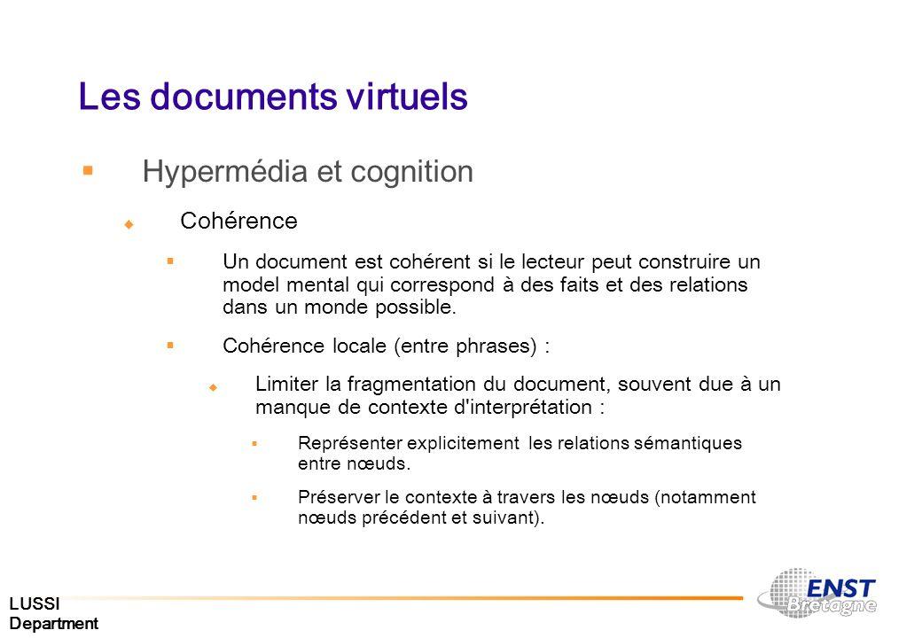 LUSSI Department Les documents virtuels Hypermédia et cognition Cohérence Un document est cohérent si le lecteur peut construire un model mental qui c