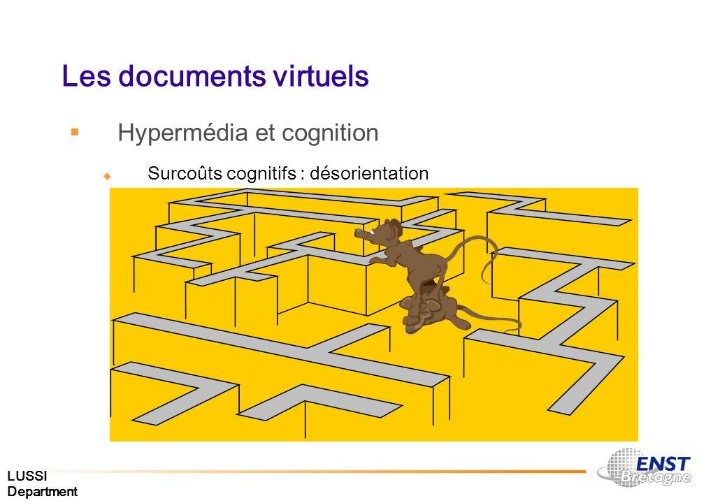 LUSSI Department Les documents virtuels Hypermédia et cognition Surcoûts cognitifs : désorientation
