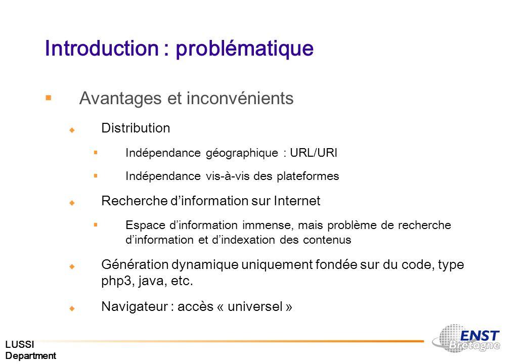 LUSSI Department Introduction : problématique Avantages et inconvénients Distribution Indépendance géographique : URL/URI Indépendance vis-à-vis des p