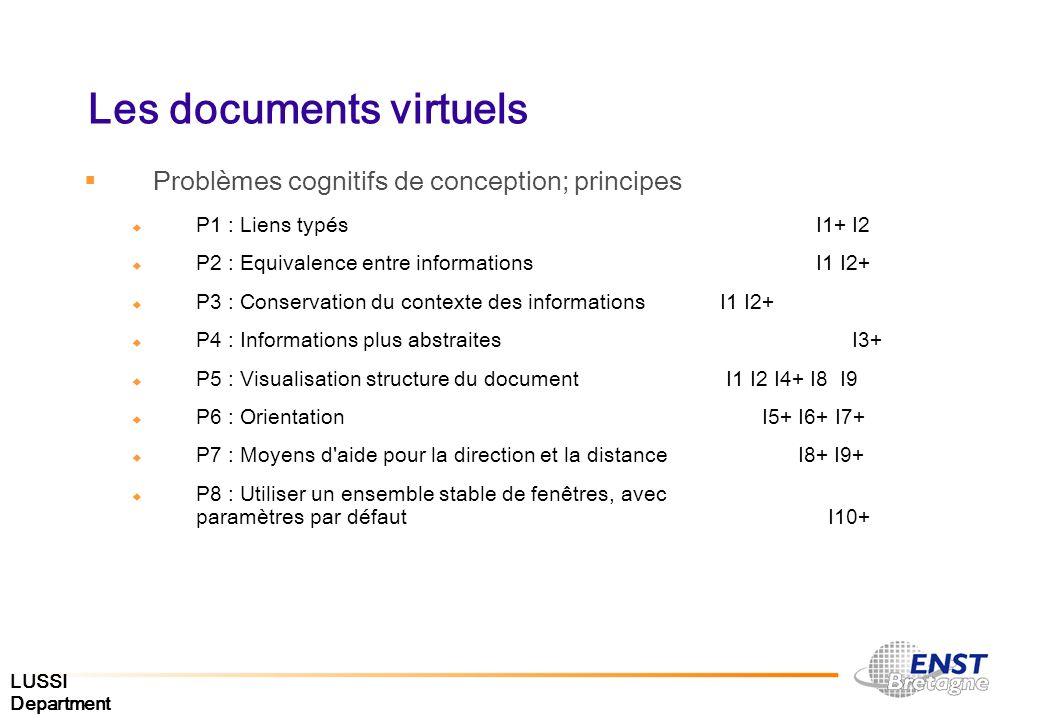 LUSSI Department Problèmes cognitifs de conception; principes P1 : Liens typés I1+ I2 P2 : Equivalence entre informations I1 I2+ P3 : Conservation du