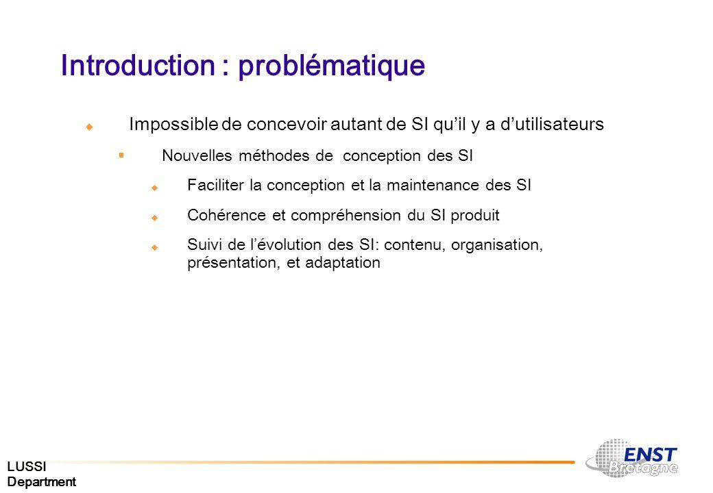 LUSSI Department Introduction : problématique Impossible de concevoir autant de SI quil y a dutilisateurs Nouvelles méthodes de conception des SI Faci
