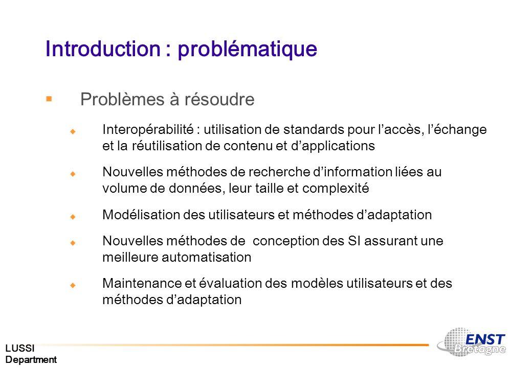 LUSSI Department Introduction : problématique Problèmes à résoudre Interopérabilité : utilisation de standards pour laccès, léchange et la réutilisati