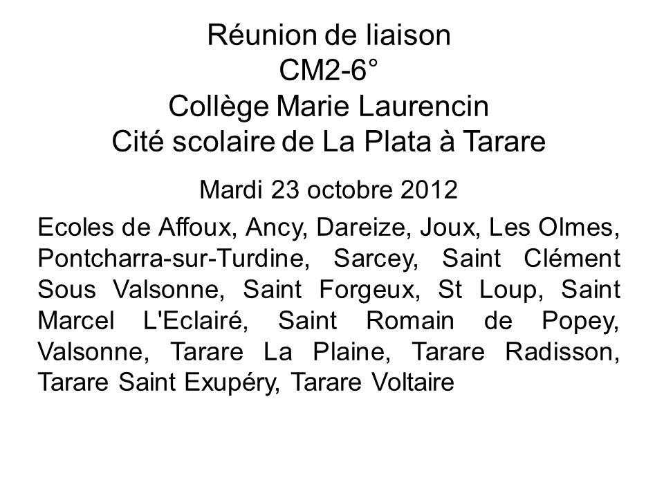 Réunion de liaison CM2-6° Collège Marie Laurencin Cité scolaire de La Plata à Tarare Mardi 23 octobre 2012 Ecoles de Affoux, Ancy, Dareize, Joux, Les