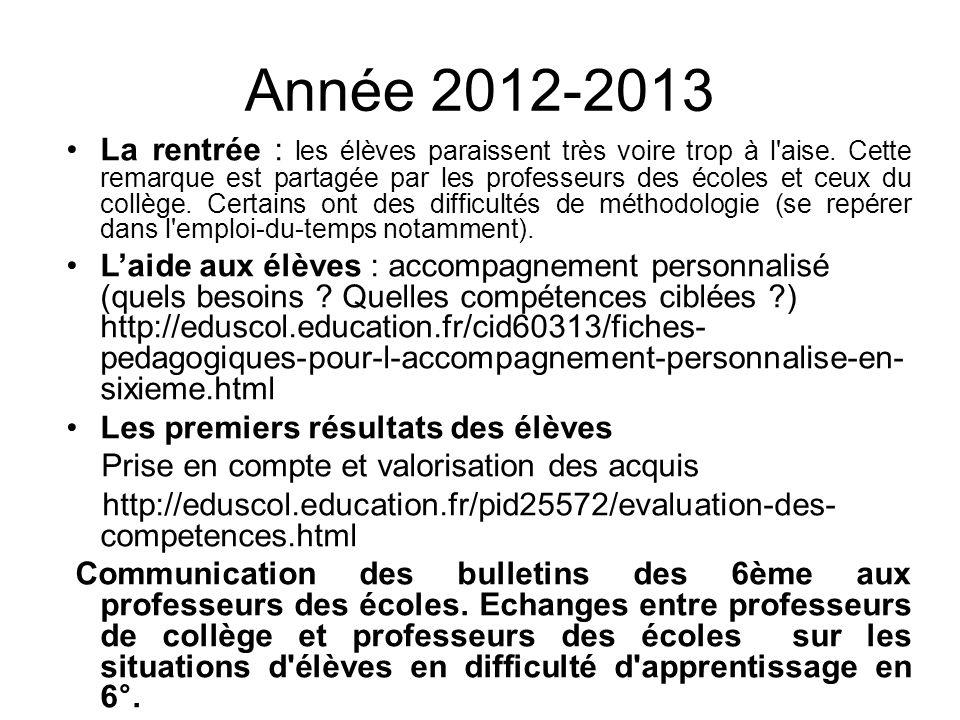 Année 2012-2013 La rentrée : les élèves paraissent très voire trop à l aise.