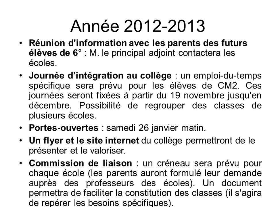 Année 2012-2013 Réunion d'information avec les parents des futurs élèves de 6° : M. le principal adjoint contactera les écoles. Journée dintégration a