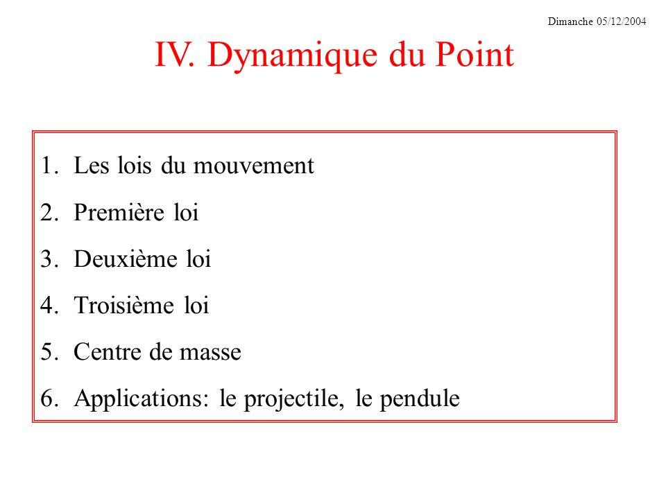 IV. Dynamique du Point Dimanche 05/12/2004 1.Les lois du mouvement 2.Première loi 3.Deuxième loi 4.Troisième loi 5.Centre de masse 6.Applications: le
