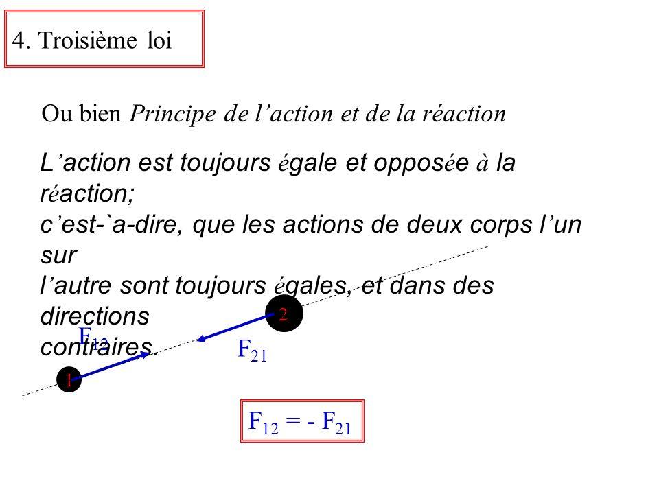 4. Troisième loi Ou bien Principe de laction et de la réaction L action est toujours é gale et oppos é e à la r é action; c est-`a-dire, que les actio