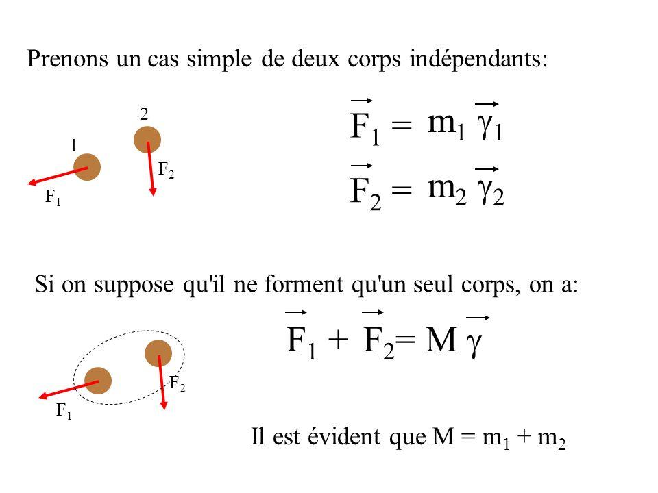 Prenons un cas simple de deux corps indépendants: 1 2 F1F1 F2F2 F1F1 F2F2 F 1 = m 1 F 2 = m 2 Si on suppose qu il ne forment qu un seul corps, on a: F 1 + F 2 = M Il est évident que M = m 1 + m 2