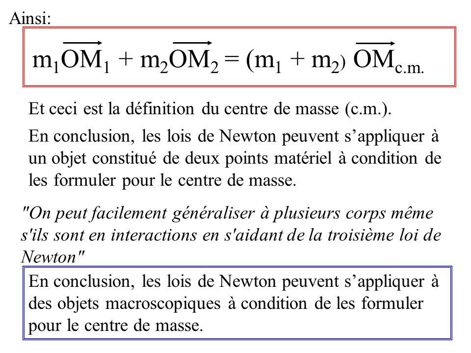 Ainsi: m 1 OM 1 + m 2 OM 2 = (m 1 + m 2 ) OM c.m. En conclusion, les lois de Newton peuvent sappliquer à des objets macroscopiques à condition de les