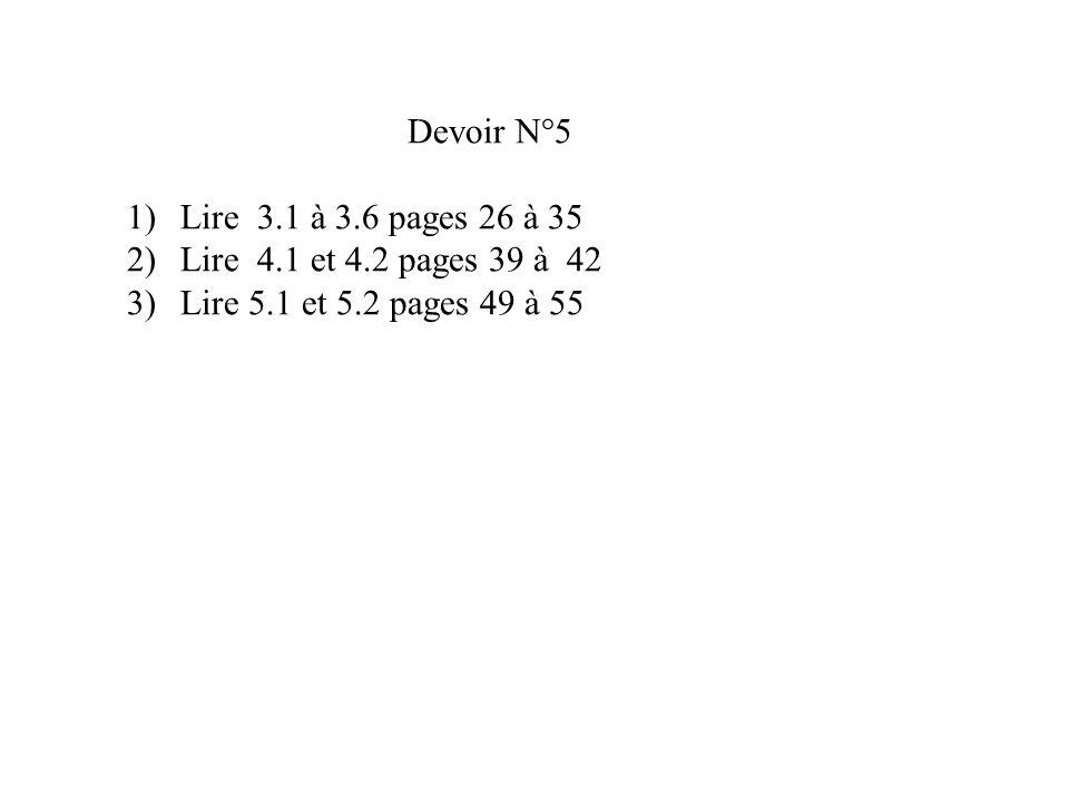 Devoir N°5 1)Lire 3.1 à 3.6 pages 26 à 35 2)Lire 4.1 et 4.2 pages 39 à 42 3)Lire 5.1 et 5.2 pages 49 à 55