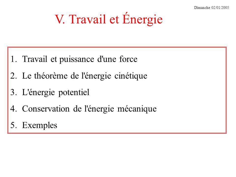 V. Travail et Énergie Dimanche 02/01/2005 1.Travail et puissance d'une force 2.Le théorème de l'énergie cinétique 3.L'énergie potentiel 4.Conservation