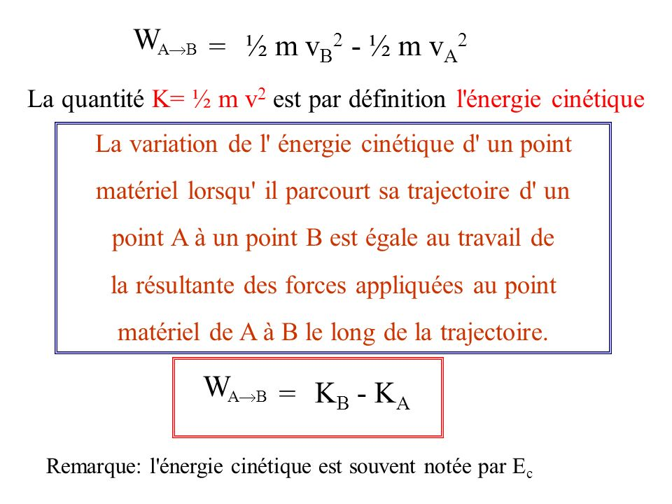 = W A B ½ m v B 2 - ½ m v A 2 La quantité K= ½ m v 2 est par définition l énergie cinétique La variation de l énergie cinétique d un point matériel lorsqu il parcourt sa trajectoire d un point A à un point B est égale au travail de la résultante des forces appliquées au point matériel de A à B le long de la trajectoire.
