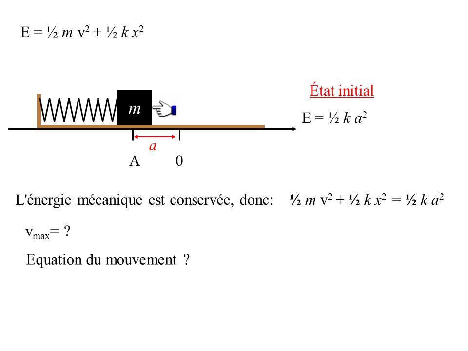 E = ½ m v 2 + ½ k x 2 État initial m 0A a E = ½ k a 2 L énergie mécanique est conservée, donc:½ m v 2 + ½ k x 2 = ½ k a 2 v max = .