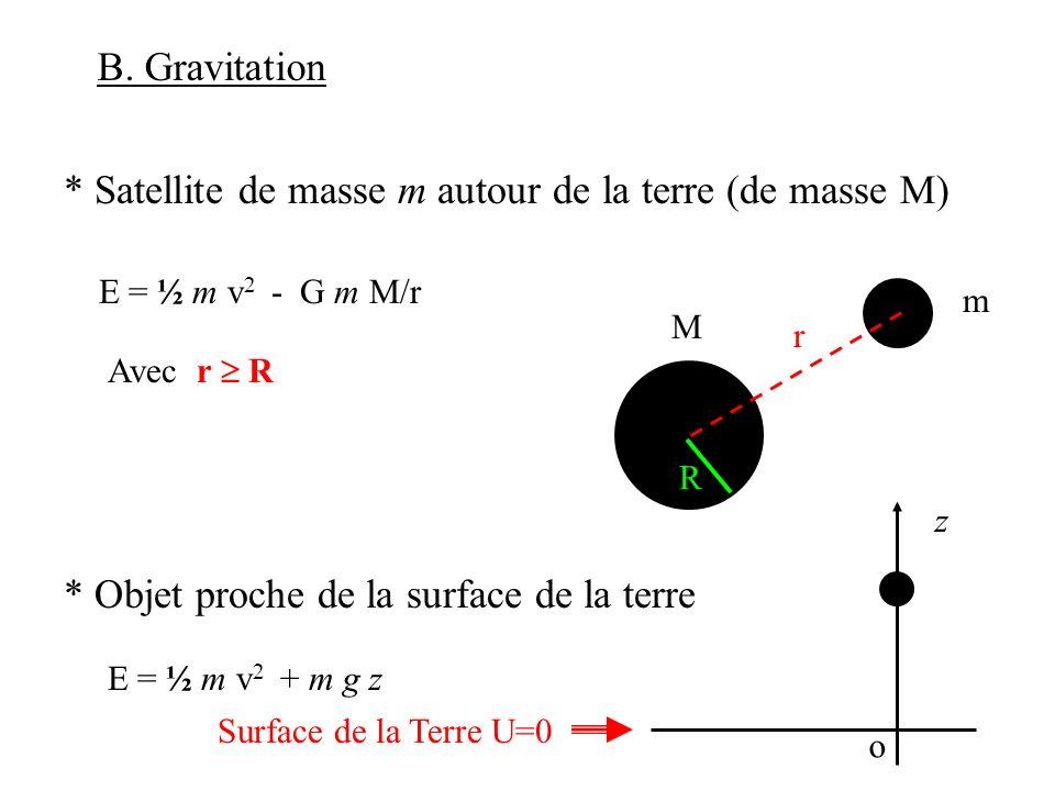 B. Gravitation * Satellite de masse m autour de la terre (de masse M) E = ½ m v 2 - G m M/r * Objet proche de la surface de la terre M m r R Avec r R