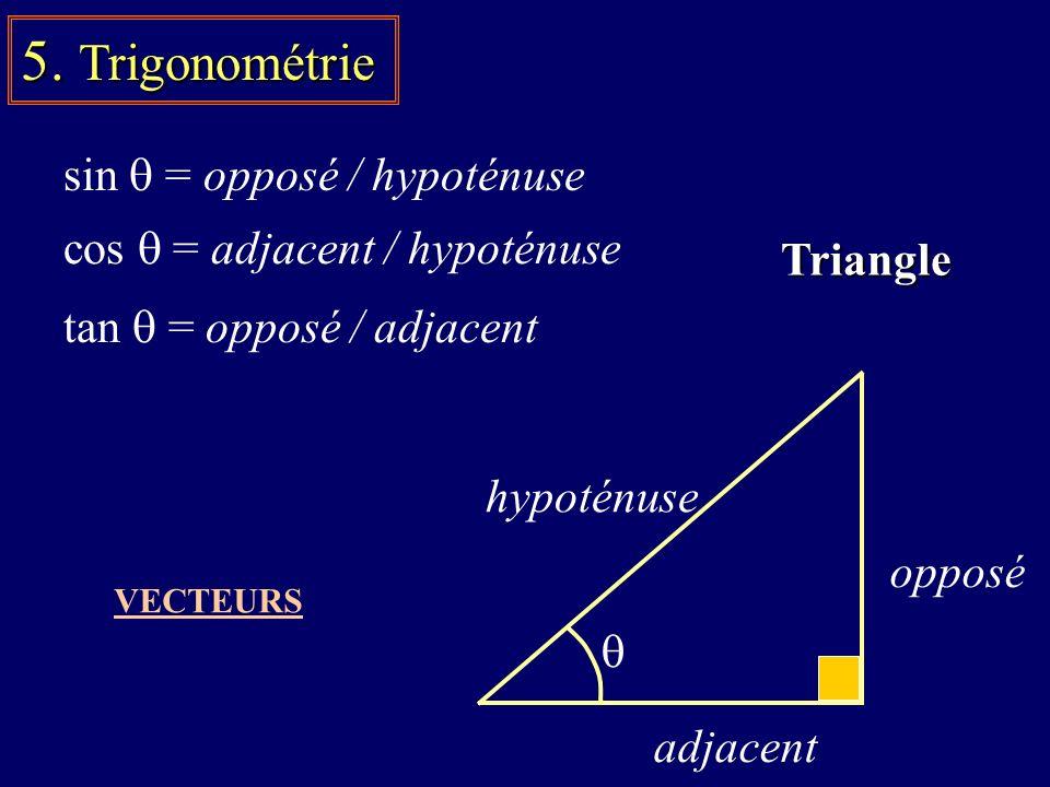 5. Trigonométrie sin = opposé / hypoténuse tan = opposé / adjacent cos = adjacent / hypoténuse VECTEURS Triangle opposé hypoténuse adjacent