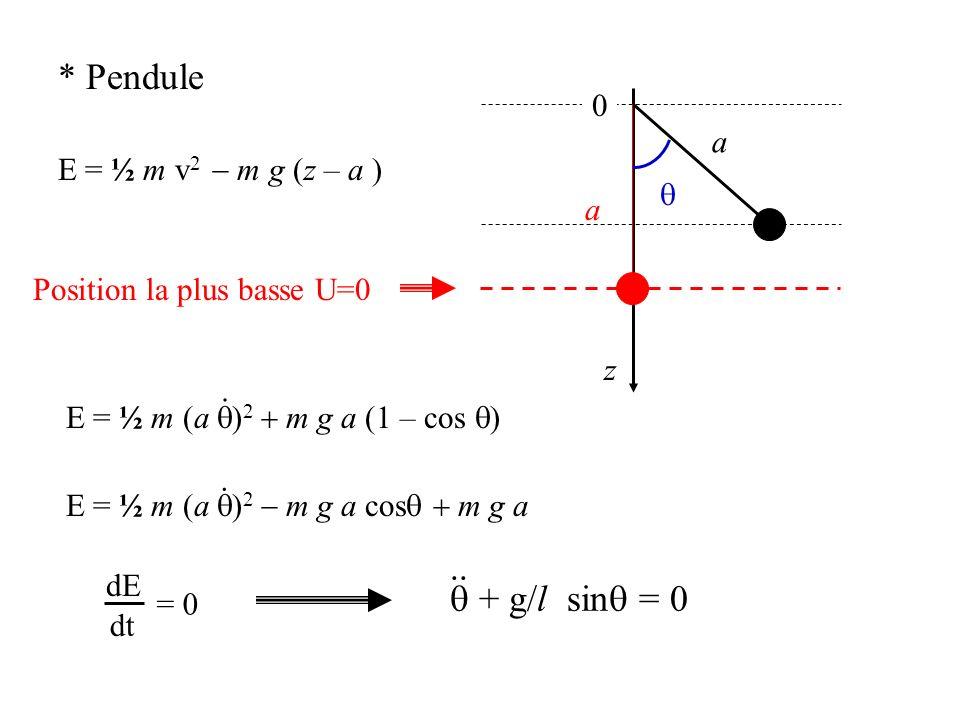* Pendule E = ½ m v 2 m g (z – a ) z 0 a Position la plus basse U=0 a E = ½ m (a ) 2 m g a (1 – cos ). E = ½ m (a ) 2 m g a cos m g a. dE dt = 0 + g/l
