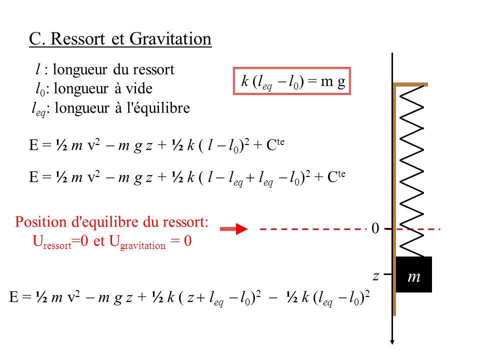 C. Ressort et Gravitation E = ½ m v 2 m g z + ½ k ( l l eq l eq l 0 ) 2 + C te Position d'equilibre du ressort: U ressort =0 et U gravitation = 0 m z