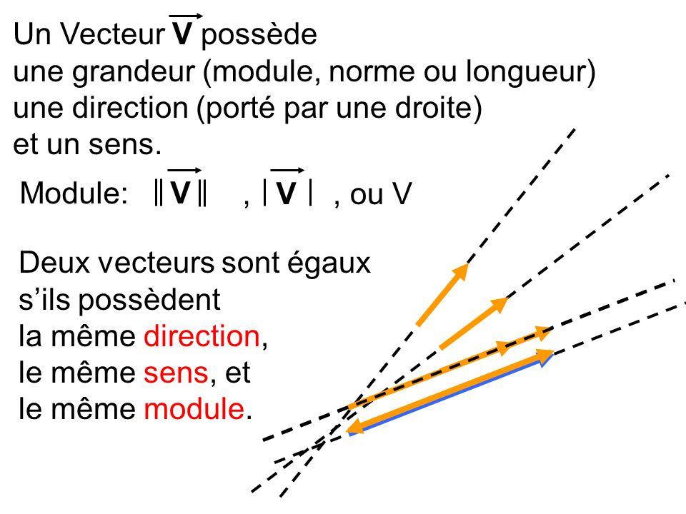 Un Vecteur V possède une grandeur (module, norme ou longueur) une direction (porté par une droite) et un sens.