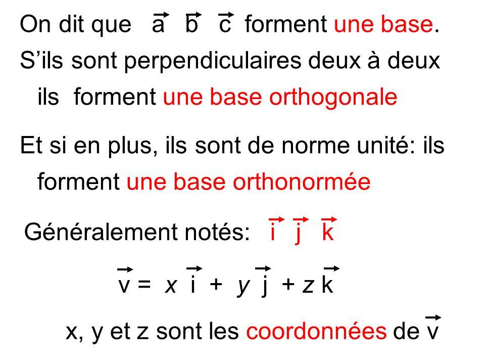 On dit que a b c forment une base. Sils sont perpendiculaires deux à deux ils forment une base orthogonale Et si en plus, ils sont de norme unité: ils