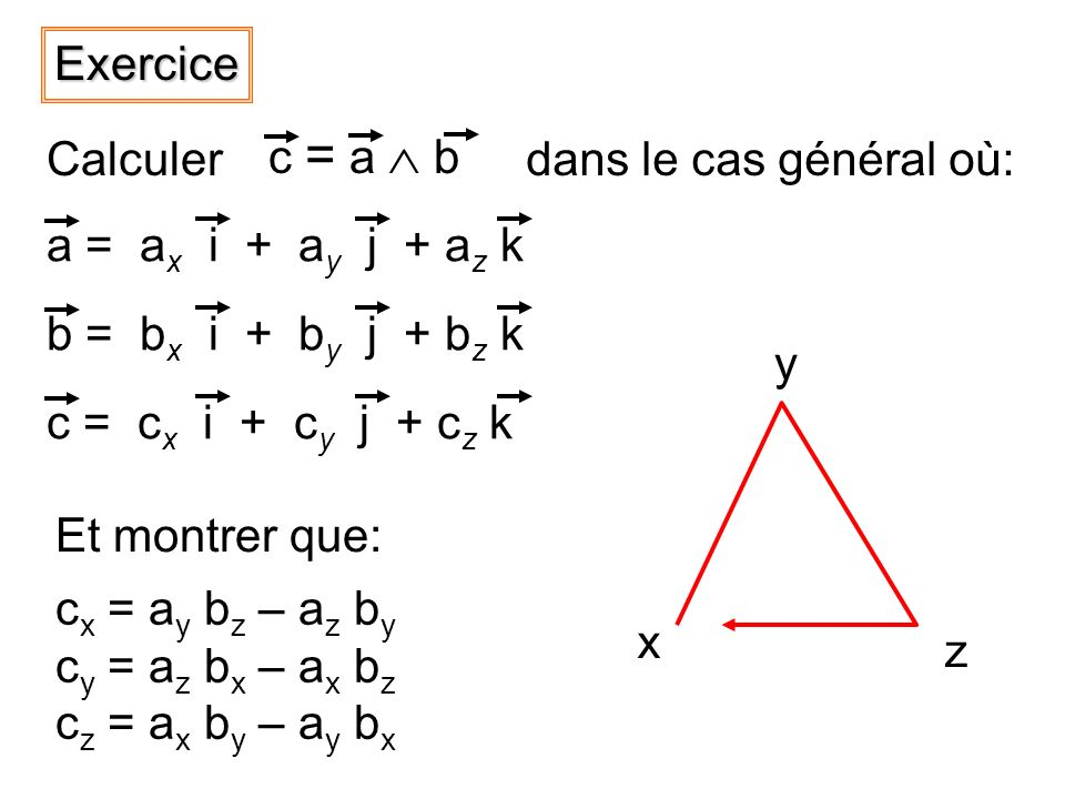 a = a x i + a y j + a z k b = b x i + b y j + b z k c = c x i + c y j + c z kExercice c x = a y b z – a z b y c y = a z b x – a x b z c z = a x b y – a y b x c = a b Calculerdans le cas général où: x y z Et montrer que: