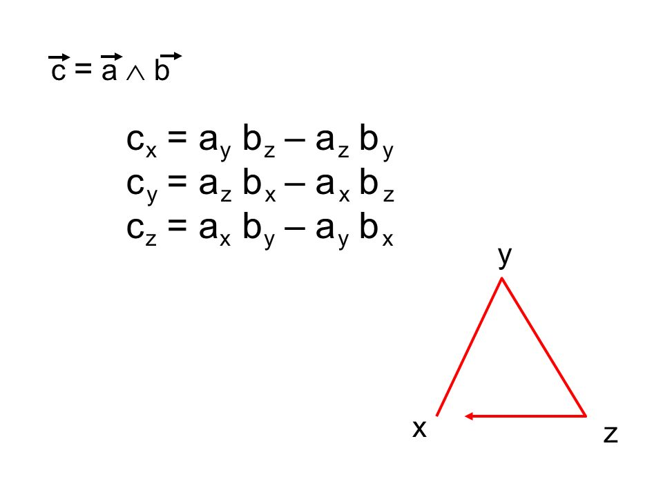 c x = a y b z – a y b z c y = a z b x – a z b x c z = a x b y – a x b y c = a b xyzzy yzxxz zxyyx x y z