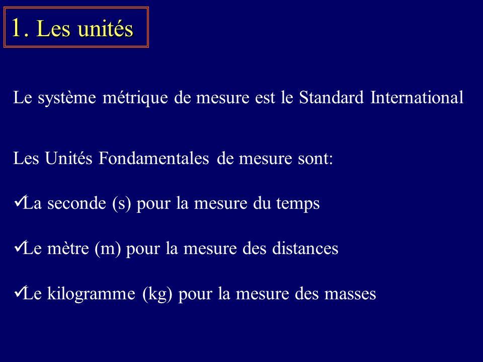 Le système métrique de mesure est le Standard International Les Unités Fondamentales de mesure sont: La seconde (s) pour la mesure du temps Le mètre (m) pour la mesure des distances Le kilogramme (kg) pour la mesure des masses 1.