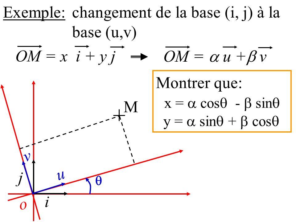 o Exemple: i j u v M changement de la base (i, j) à la base (u,v) OM = x i + y j OM = u + v Montrer que: x = cos - sin y = sin + cos