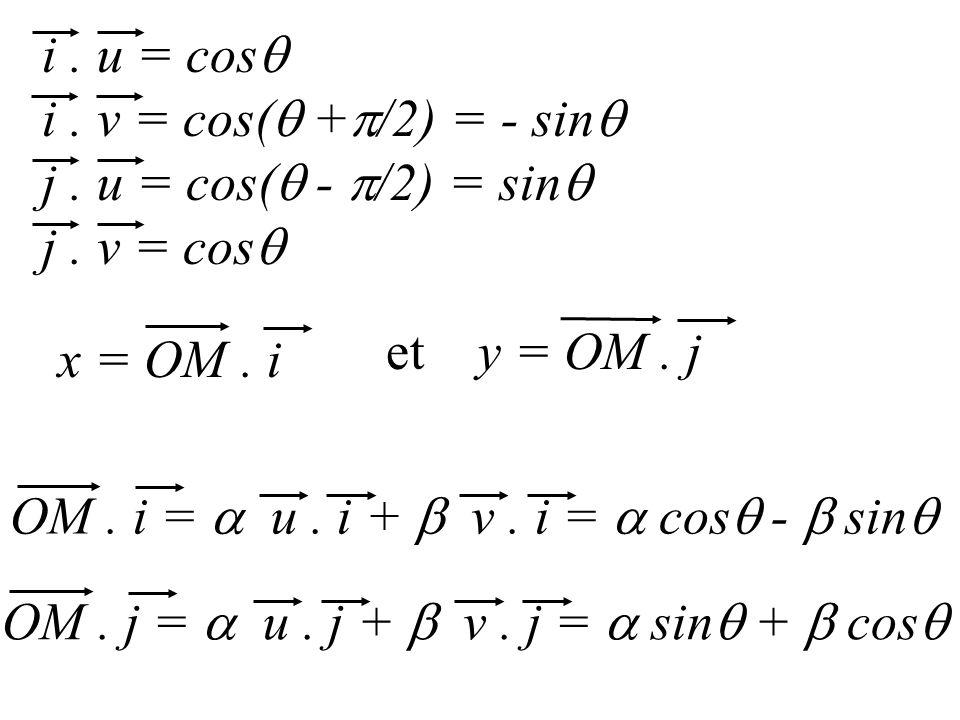 OM. i = u. i + v. i = cos - sin i. u = cos i. v = cos( + /2) = - sin j. u = cos( - /2) = sin j. v = cos OM. j = u. j + v. j = sin + cos x = OM. i et y