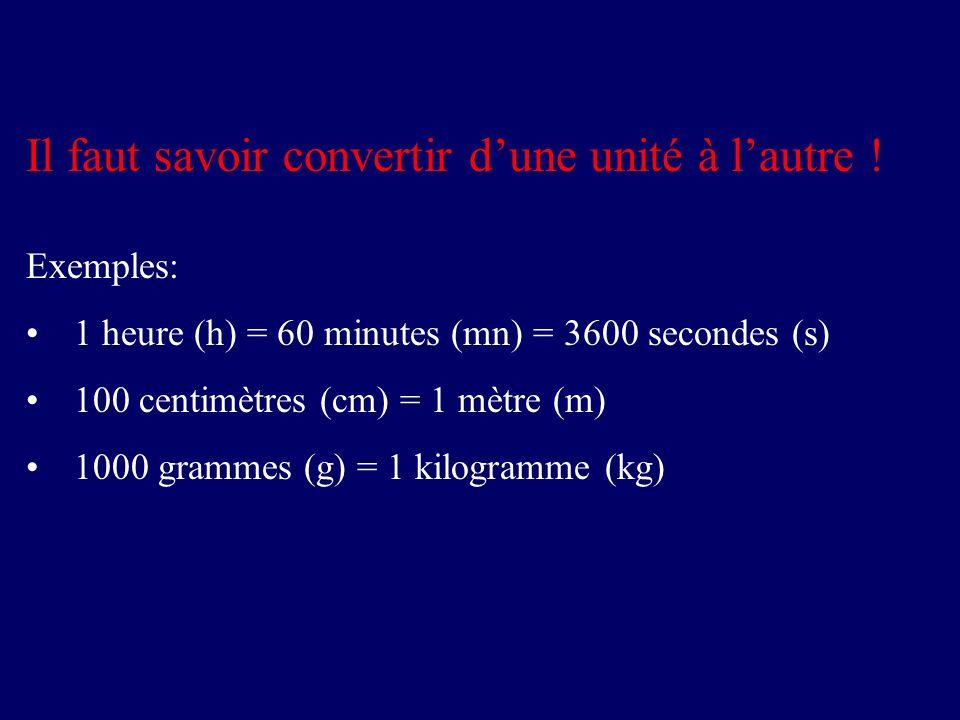 Il faut savoir convertir dune unité à lautre ! Exemples: 1 heure (h) = 60 minutes (mn) = 3600 secondes (s) 100 centimètres (cm) = 1 mètre (m) 1000 gra