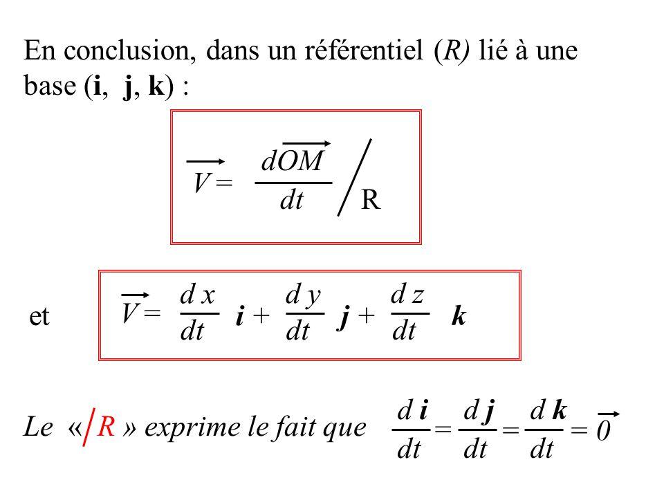 V =V = dt dOM R et V =V = dt d x i + dt d y j + dt d z k dt d i dt d j dt d k = == 0 Le « R » exprime le fait que En conclusion, dans un référentiel (R) lié à une base (i, j, k) :