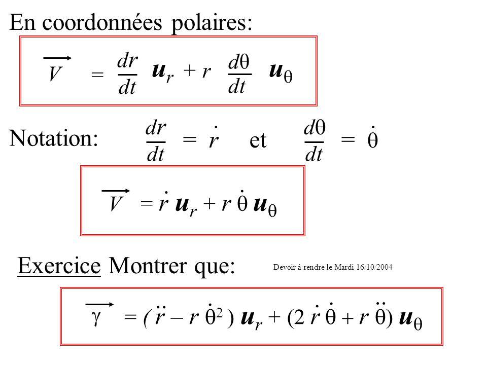 En coordonnées polaires: Notation: dt drdr = r. et dt d =. V = drdr urur + r dθdθ dt u V = r u r + r u.. Exercice Montrer que: = ( r – r ) u r + (2 r