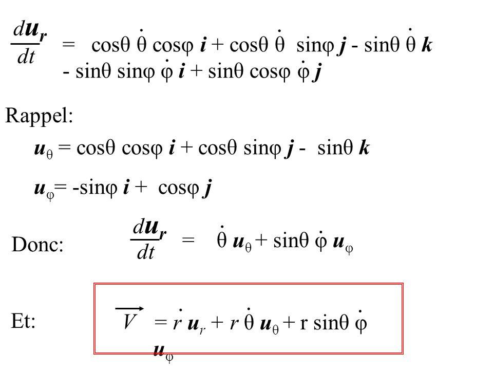u θ = cosθ cosφ i + cosθ sinφ j - sinθ k u φ = -sinφ i + cosφ j dt durdur = cosθ θ cosφ i + cosθ θ sinφ j - sinθ θ k - sinθ sinφ φ i + sinθ cosφ φ j..