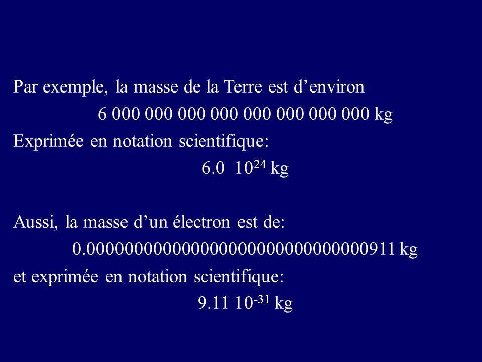 Par exemple, la masse de la Terre est denviron 6 000 000 000 000 000 000 000 000 kg Exprimée en notation scientifique: 6.0 10 24 kg Aussi, la masse dun électron est de: 0.000000000000000000000000000000911 kg et exprimée en notation scientifique: 9.11 10 -31 kg