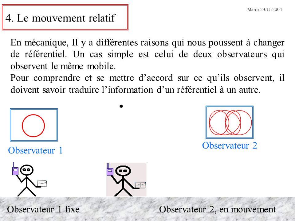 4. Le mouvement relatif En mécanique, Il y a différentes raisons qui nous poussent à changer de référentiel. Un cas simple est celui de deux observate