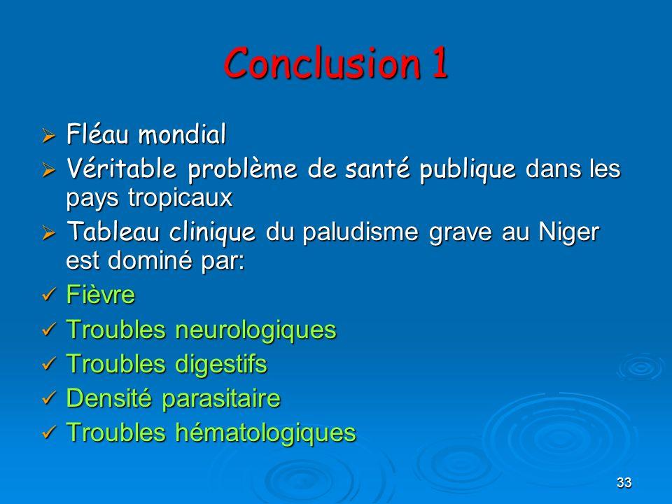 33 Conclusion 1 Fléau mondial Fléau mondial Véritable problème de santé publique dans les pays tropicaux Véritable problème de santé publique dans les