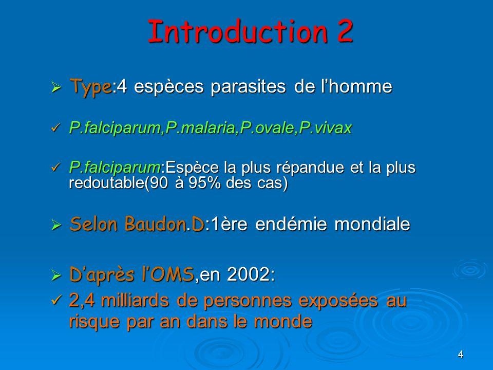 4 Introduction 2 Type :4 espèces parasites de lhomme Type :4 espèces parasites de lhomme P.falciparum,P.malaria,P.ovale,P.vivax P.falciparum,P.malaria