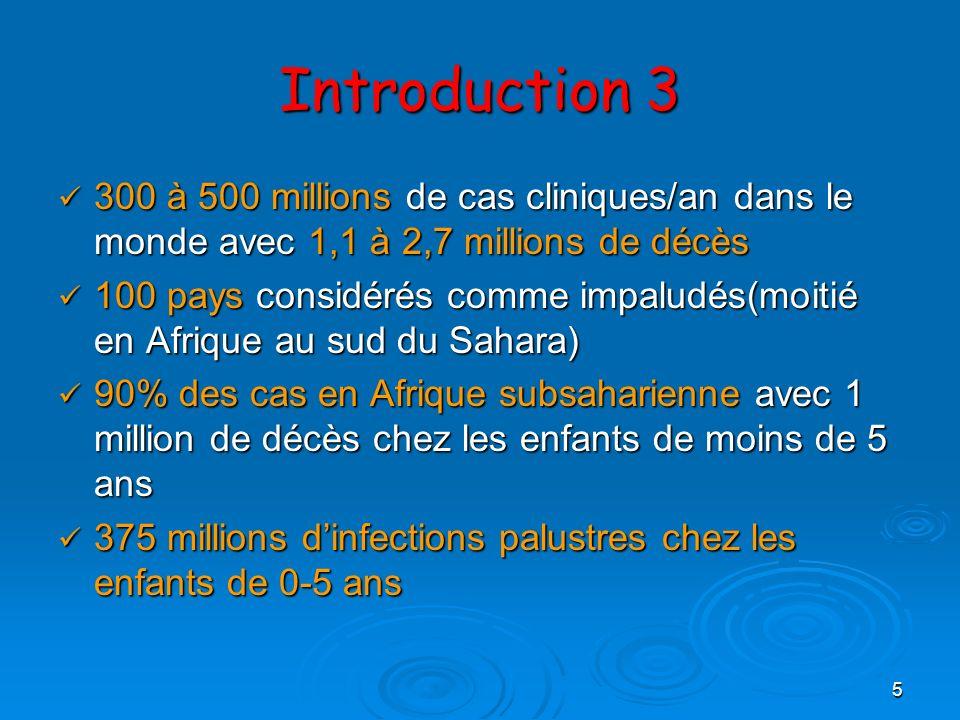 5 Introduction 3 300 à 500 millions de cas cliniques/an dans le monde avec 1,1 à 2,7 millions de décès 300 à 500 millions de cas cliniques/an dans le