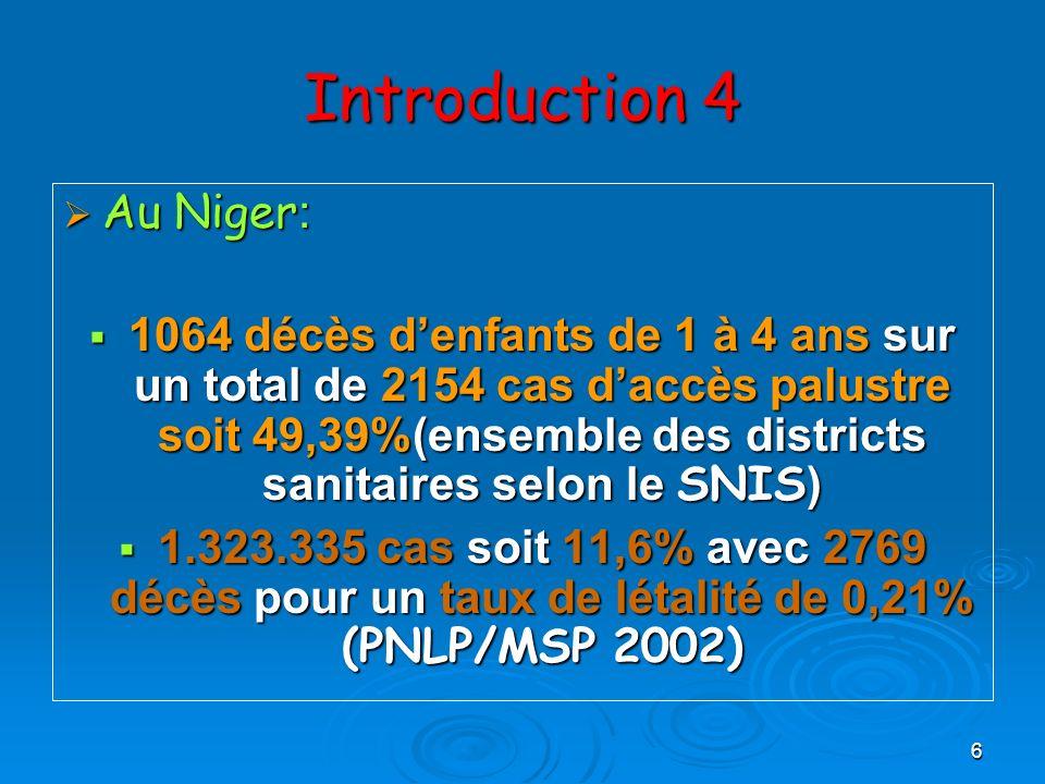 6 Introduction 4 Au Niger : Au Niger : 1064 décès denfants de 1 à 4 ans sur un total de 2154 cas daccès palustre soit 49,39%(ensemble des districts sa