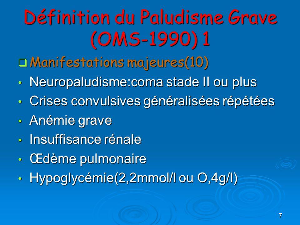 8 Définition du Paludisme Grave (OMS-1990) 2 Collapsus circulatoire Collapsus circulatoire Hémorragie diffuse(ou CIVD) Hémorragie diffuse(ou CIVD) Hémoglobinurie massive Hémoglobinurie massive Acidose sanguine(pH artériel 7,25;ou bicarbonates 15 mmol/l) Acidose sanguine(pH artériel 7,25;ou bicarbonates 15 mmol/l) Autres manifestations Autres manifestations Obnubilation ou prostration Obnubilation ou prostration