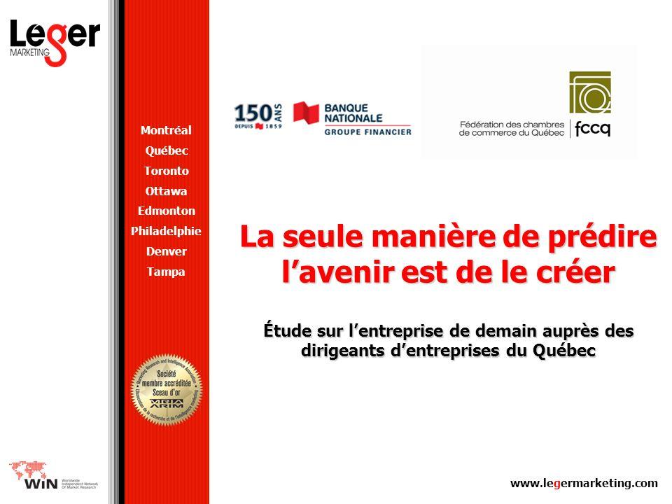 Les entreprises de demain 2 Méthodologie Le sondage a été mené auprès de 703 dirigeants de moyennes et de grandes entreprises du Québec de 25 employés et plus par téléphone (526 entrevues) et par le Web (177 entrevues) du 21 août au 25 septembre en français et en anglais.