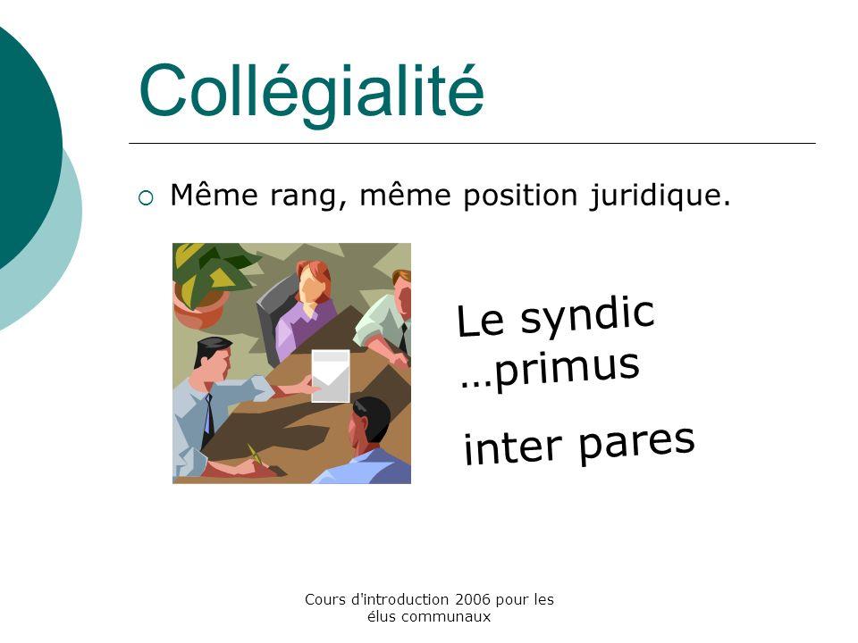 Cours d introduction 2006 pour les élus communaux Collégialité Même rang, même position juridique.