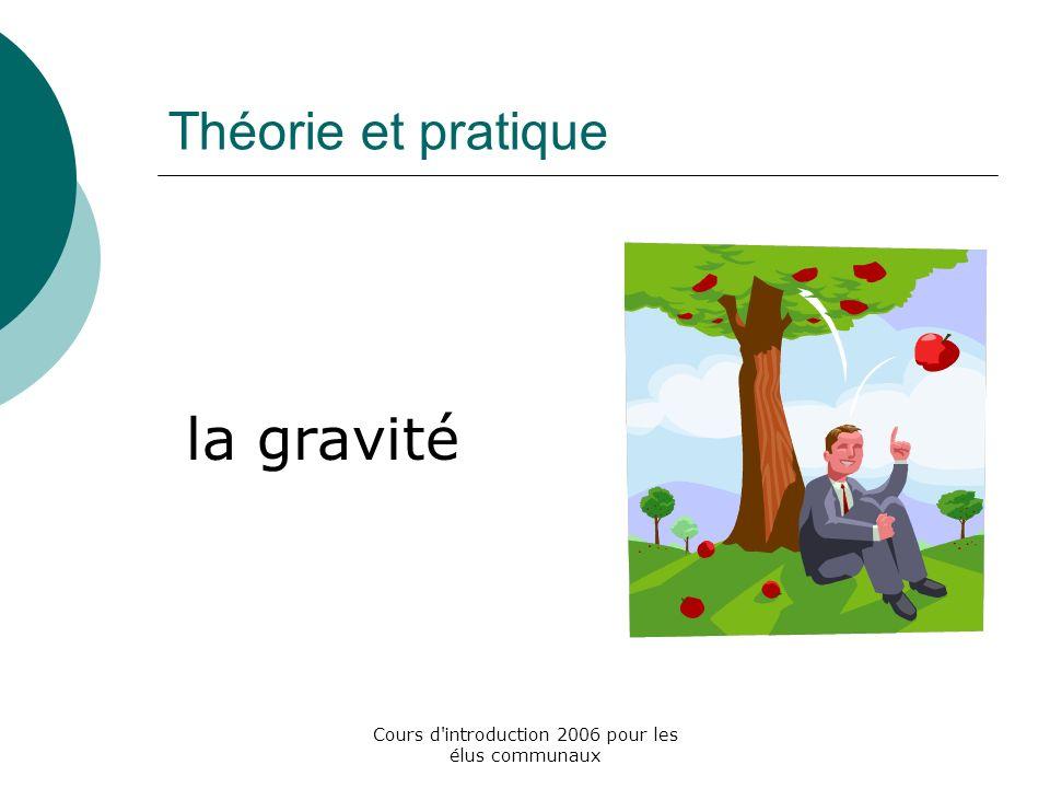 Cours d introduction 2006 pour les élus communaux Théorie et pratique la gravité