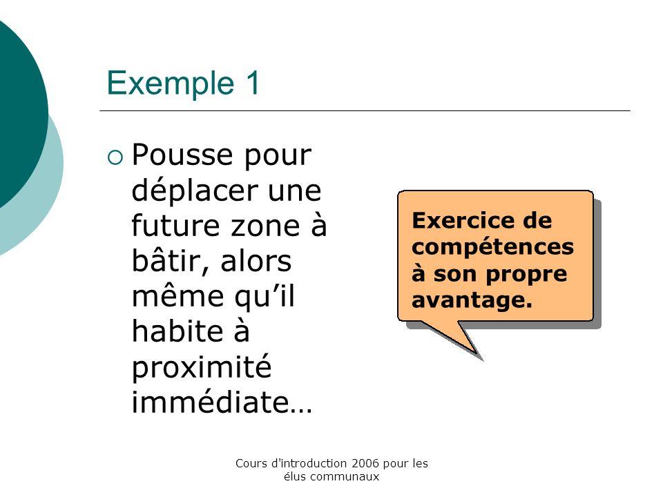 Cours d introduction 2006 pour les élus communaux Exemple 1 Pousse pour déplacer une future zone à bâtir, alors même quil habite à proximité immédiate… Exercice de compétences à son propre avantage.
