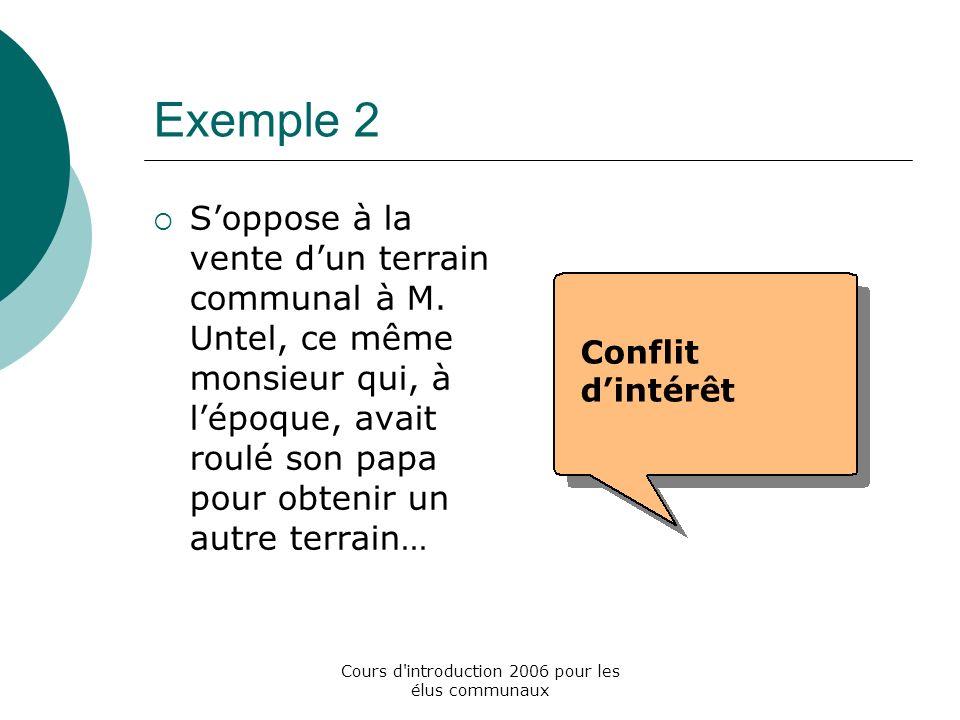 Cours d introduction 2006 pour les élus communaux Exemple 2 Soppose à la vente dun terrain communal à M.