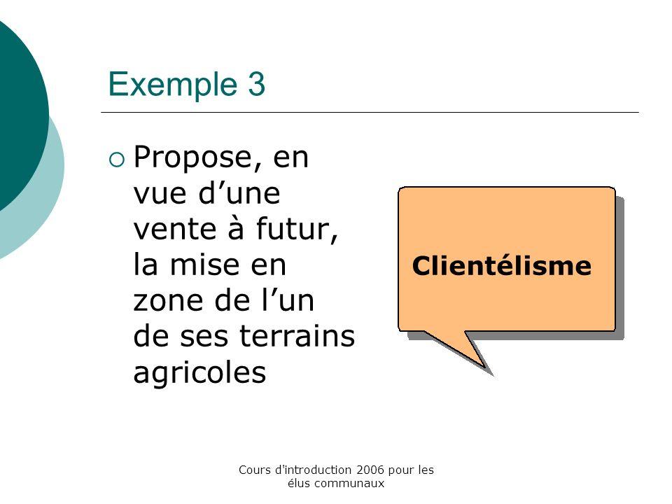 Cours d introduction 2006 pour les élus communaux Exemple 3 Propose, en vue dune vente à futur, la mise en zone de lun de ses terrains agricoles Clientélisme