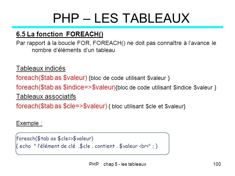 PHP chap 5 - les tableaux100 PHP – LES TABLEAUX 6.5 La fonction FOREACH() Par rapport à la boucle FOR, FOREACH() ne doit pas connaître à lavance le no